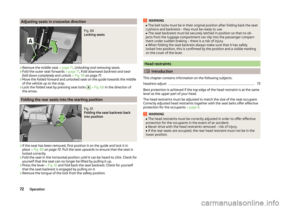 SKODA ROOMSTER 2014 1.G Owners Manual, Page 75