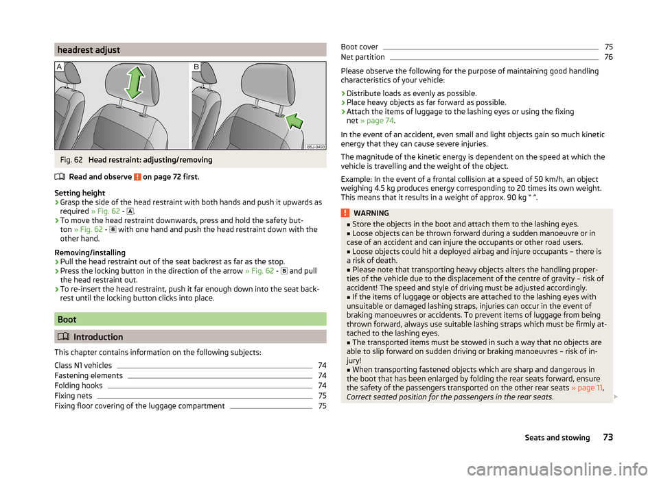 SKODA ROOMSTER 2014 1.G Owners Manual, Page 76
