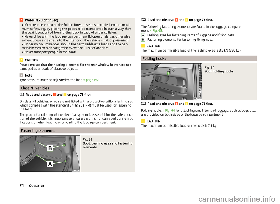 SKODA ROOMSTER 2014 1.G Owners Manual, Page 77
