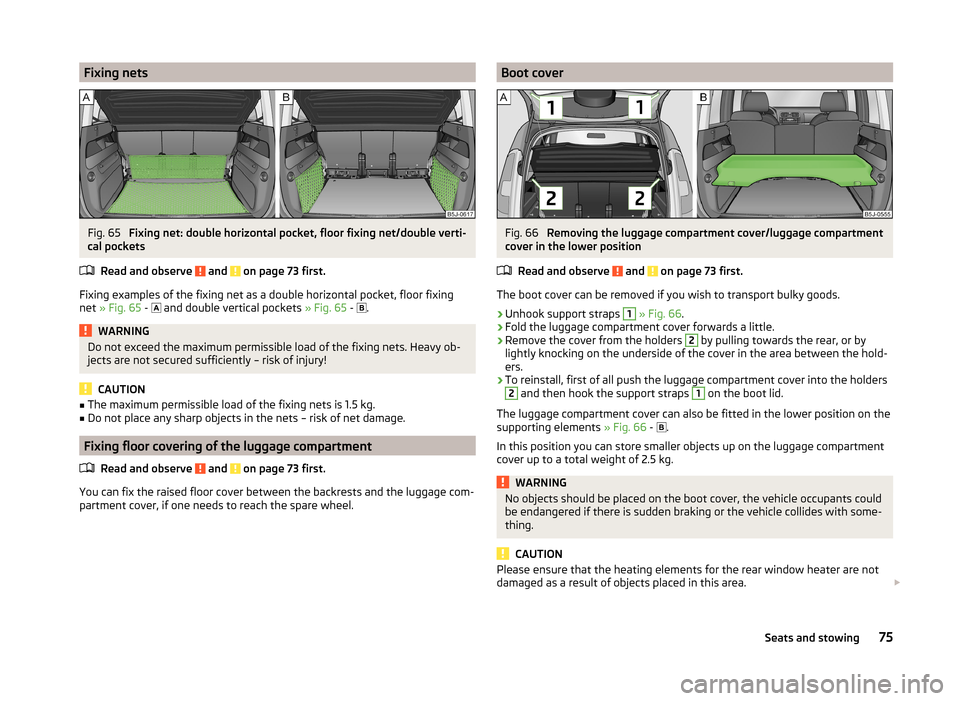 SKODA ROOMSTER 2014 1.G Owners Manual, Page 78