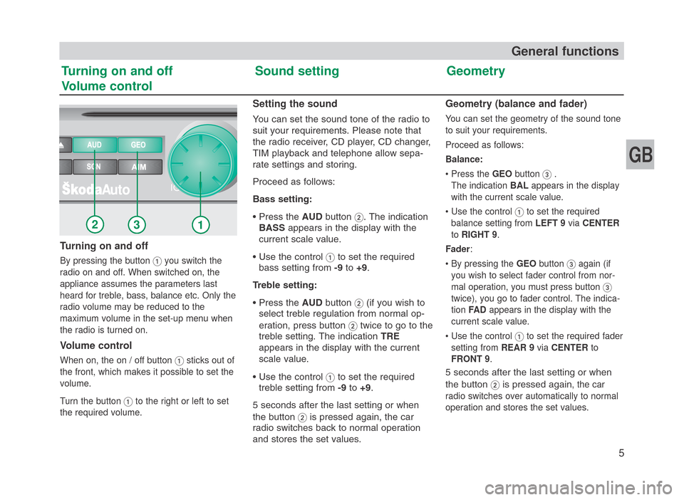 SKODA FABIA 2007 1.G / 6Y SymphonyCD Car Radio Manual, Page 6