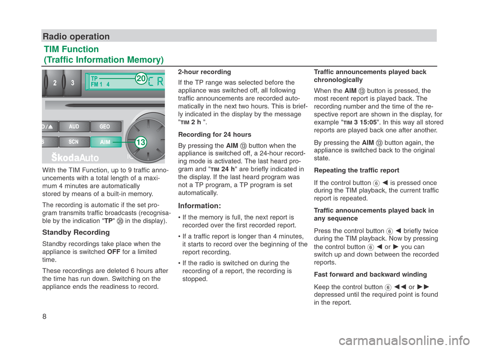 SKODA FABIA 2007 1.G / 6Y SymphonyCD Car Radio Manual, Page 9