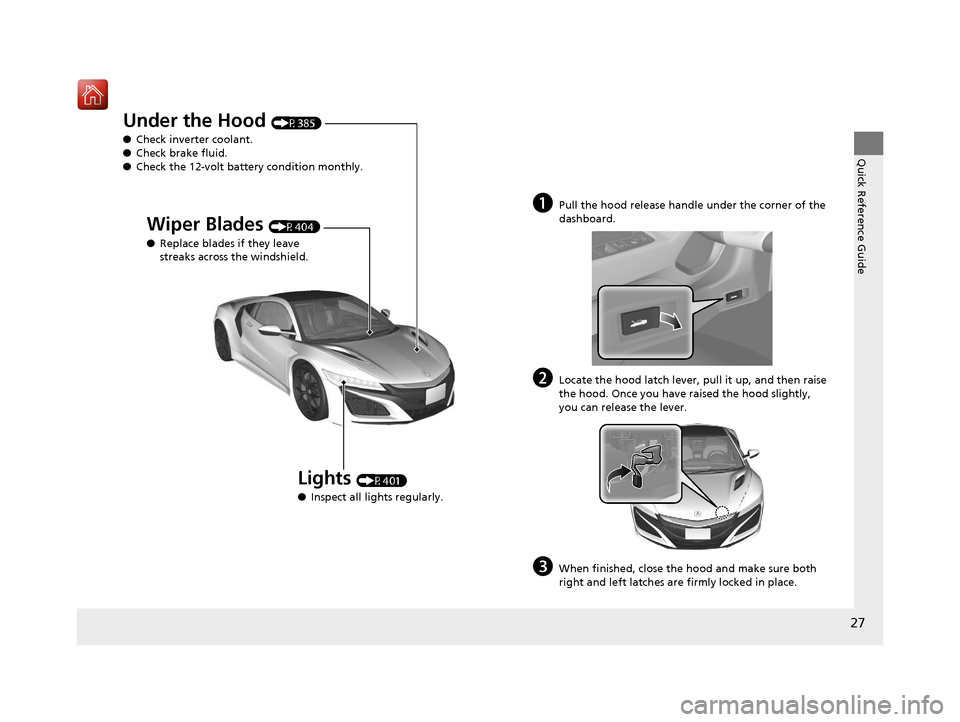 Acura NSX 2018  Owners Manual 27 Quick Reference Guide Under the Hood (P385) ● Check inverter coolant. ● Check brake fluid. ● Check the 12-volt battery condition monthly. Lights (P401) ● Inspect all lights regularly. Wiper