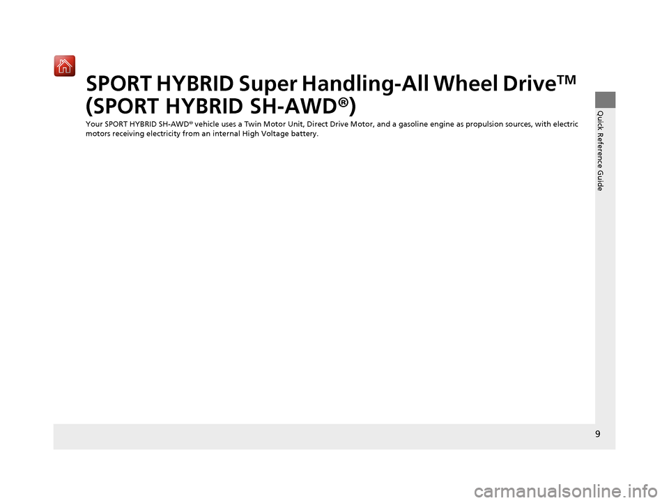 Acura NSX 2018  Owners Manual 9 Quick Reference Guide SPORT HYBRID Super Handling-All Wheel DriveTM  (SPORT HYBRID SH-AWD ®) Your SPORT HYBRID SH-AWD ® vehicle uses a Twin Motor Unit, Direct Drive Motor, and a gasoline engine as