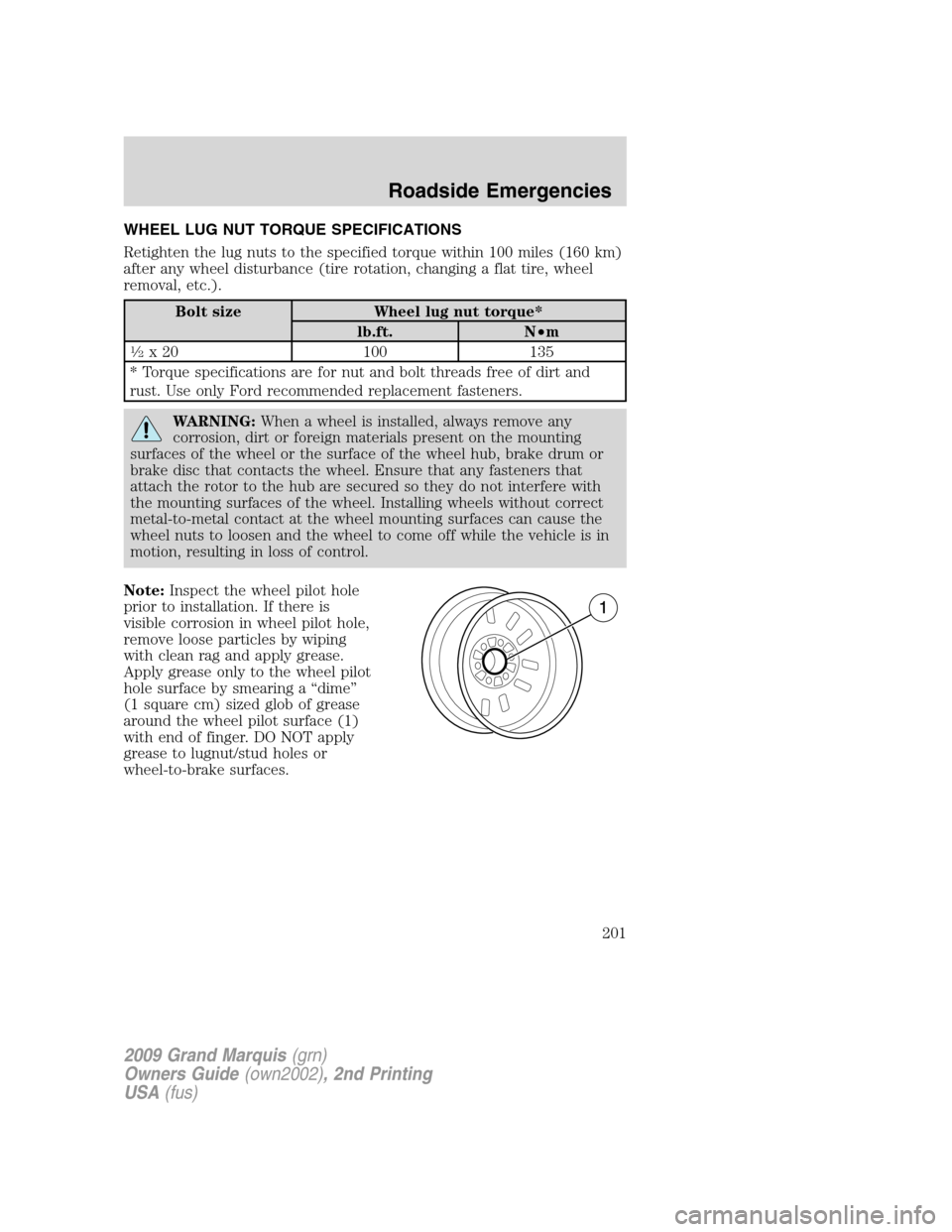Brake Rotor Mercury Grand Marquis 2009 Owner S Manuals 270 Pages