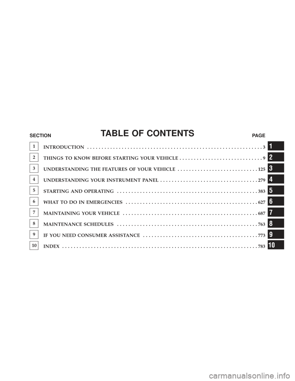 Ram 1500 2014  Owners Manual TABLE OF CONTENTSSECTIONPAGE 1 INTRODUCTION .............................................................3 2 THINGS TO KNOW BEFORE STARTING YOUR VEHICLE .............................9 3 UNDERSTANDING