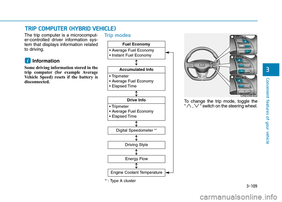 Hyundai Ioniq Hybrid 2020  Owners Manual 3-109 Convenient features of your vehicle 3 The trip computer is a microcomput- er-controlled driver information sys- tem that displays information related to driving. Information  Some driving inform