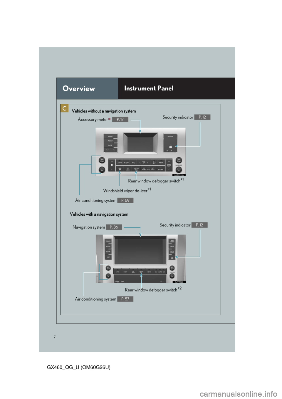 Lexus GX460 2011  Opening, Closing And Locking The Doors / LEXUS 2011 GX460 OWNERS MANUAL QUICK GUIDE (OM60G26U) 7 GX460_QG_U (OM60G26U) OverviewInstrument Panel Accessory meterP. 17 Vehicles without a navigation system Vehicles with a navigation systemSecurity indicator  P. 12 Rear window defogger switch*