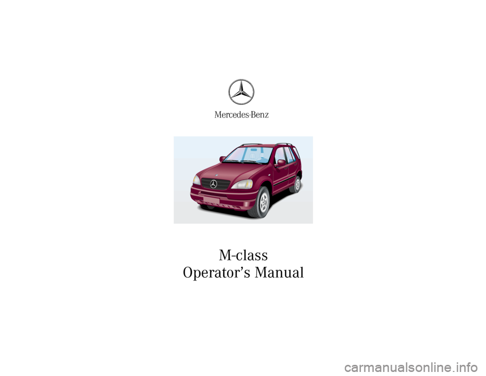 MERCEDES-BENZ ML55AMG 2001 W163 Owners Manual, Page 1