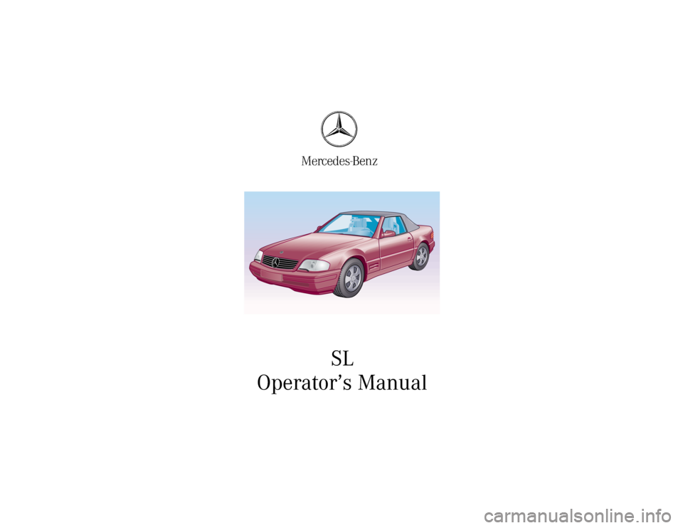 MERCEDES-BENZ SL-Class 2001 R129 Owners Manual SL Operator's Manual