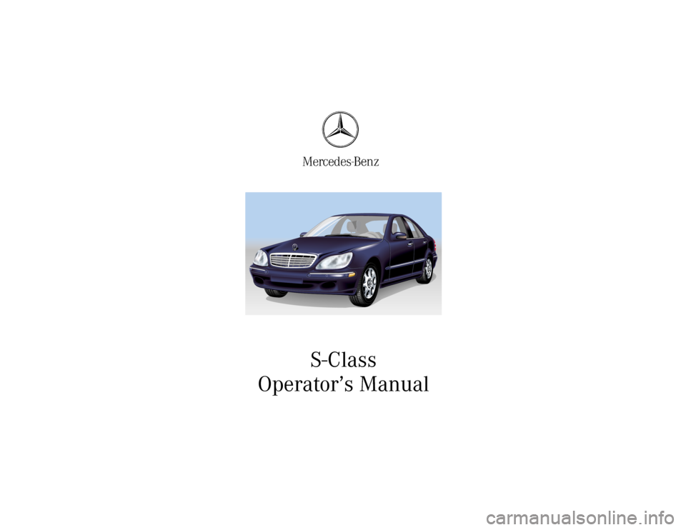 Mercedes benz s500 2002 w220 owner 39 s manual for Mercedes benz owners manual