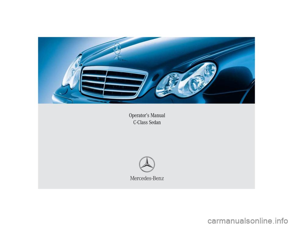 Mercedes benz c240 2005 w203 owner 39 s manual for Mercedes benz manuals