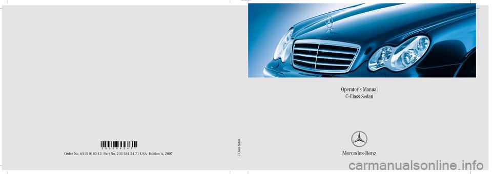Mercedes Benz C350 4matic 2007 W203 Owner S Manual