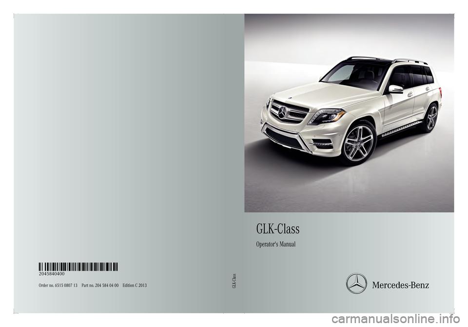 Mercedes Benz Glk Class 2013 X204 Owner S Manual