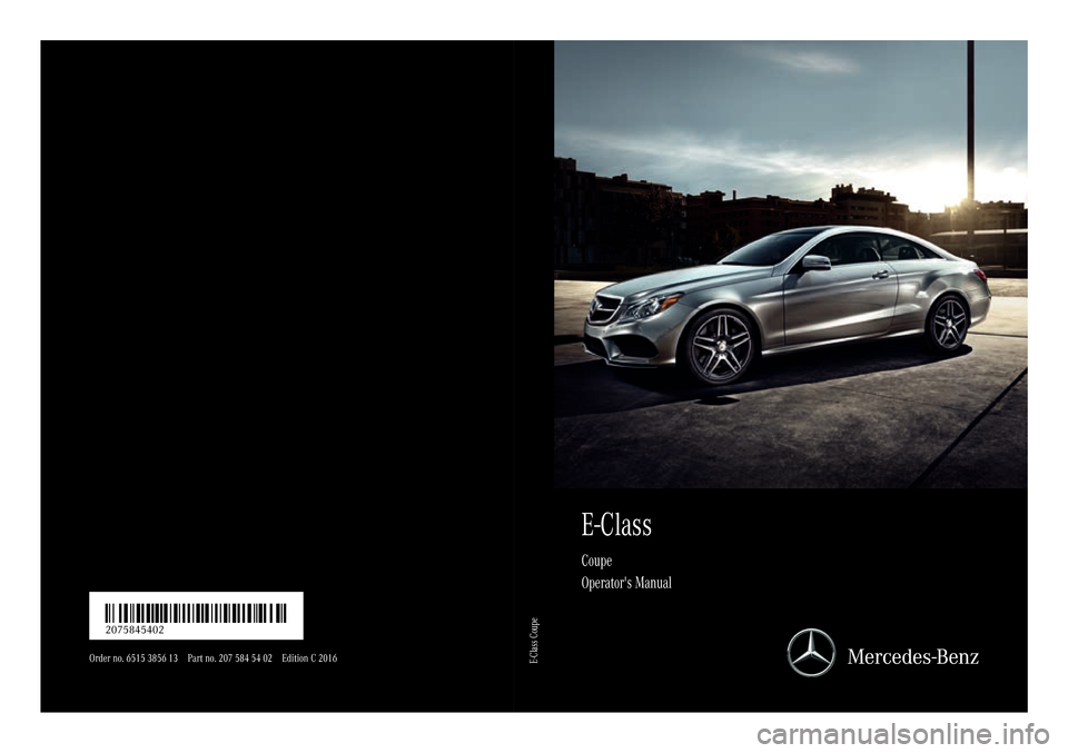 Mercedes Benz E Class Coupe 2016 C207 Owner S Manual