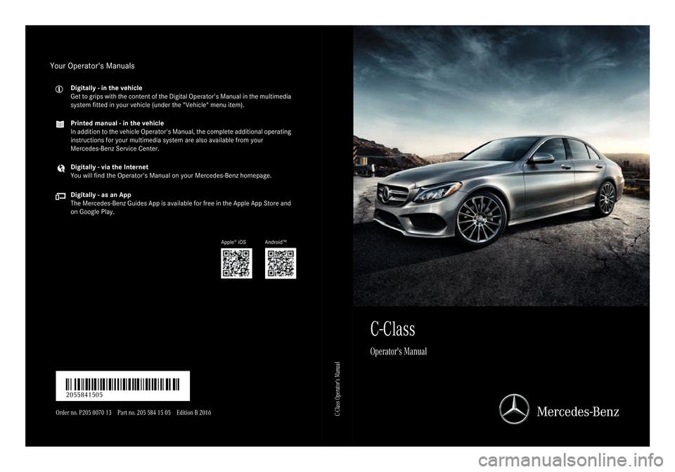 Mercedes benz c class sedan 2016 w205 owner 39 s manual for Mercedes benz manuals