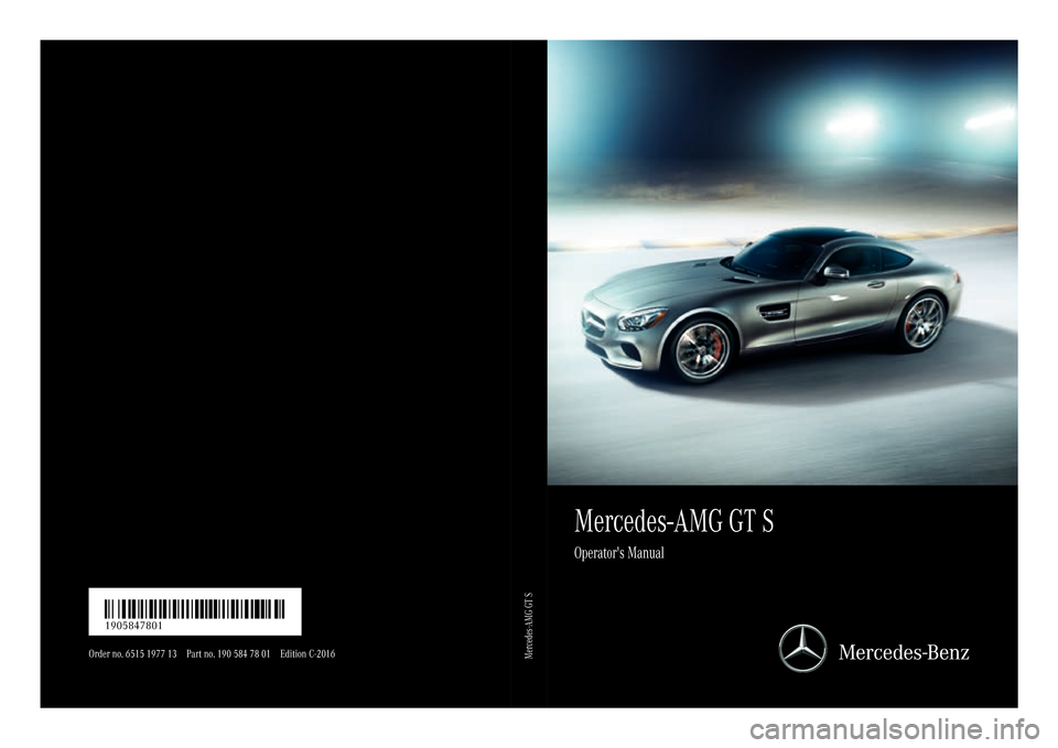 MERCEDES-BENZ AMG GT S 2016 C190 Owners Manual, Page 1