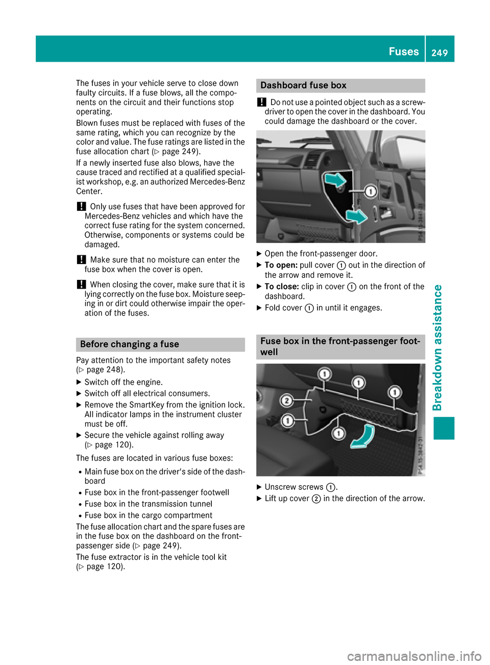Mercedes Benz G Class 2017 W463 Owners Manual Car Fuse Box Tool Page 251 The Fuses In Your Vehicle