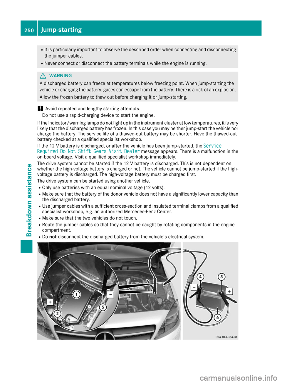 MERCEDES-BENZ B-Class 2017 W246 Owners Manual, Page 252
