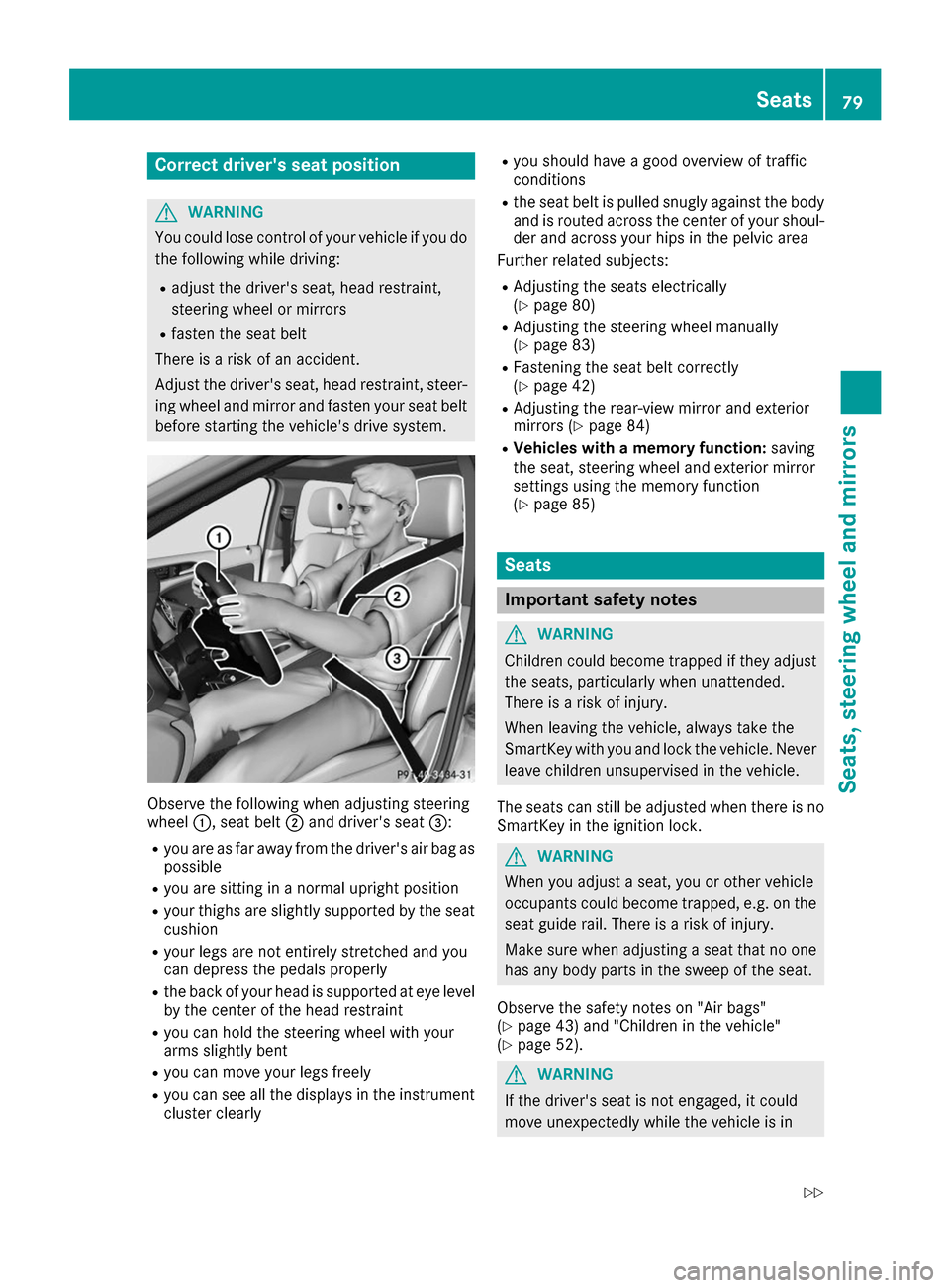 MERCEDES-BENZ B-Class 2017 W246 Owners Manual, Page 81