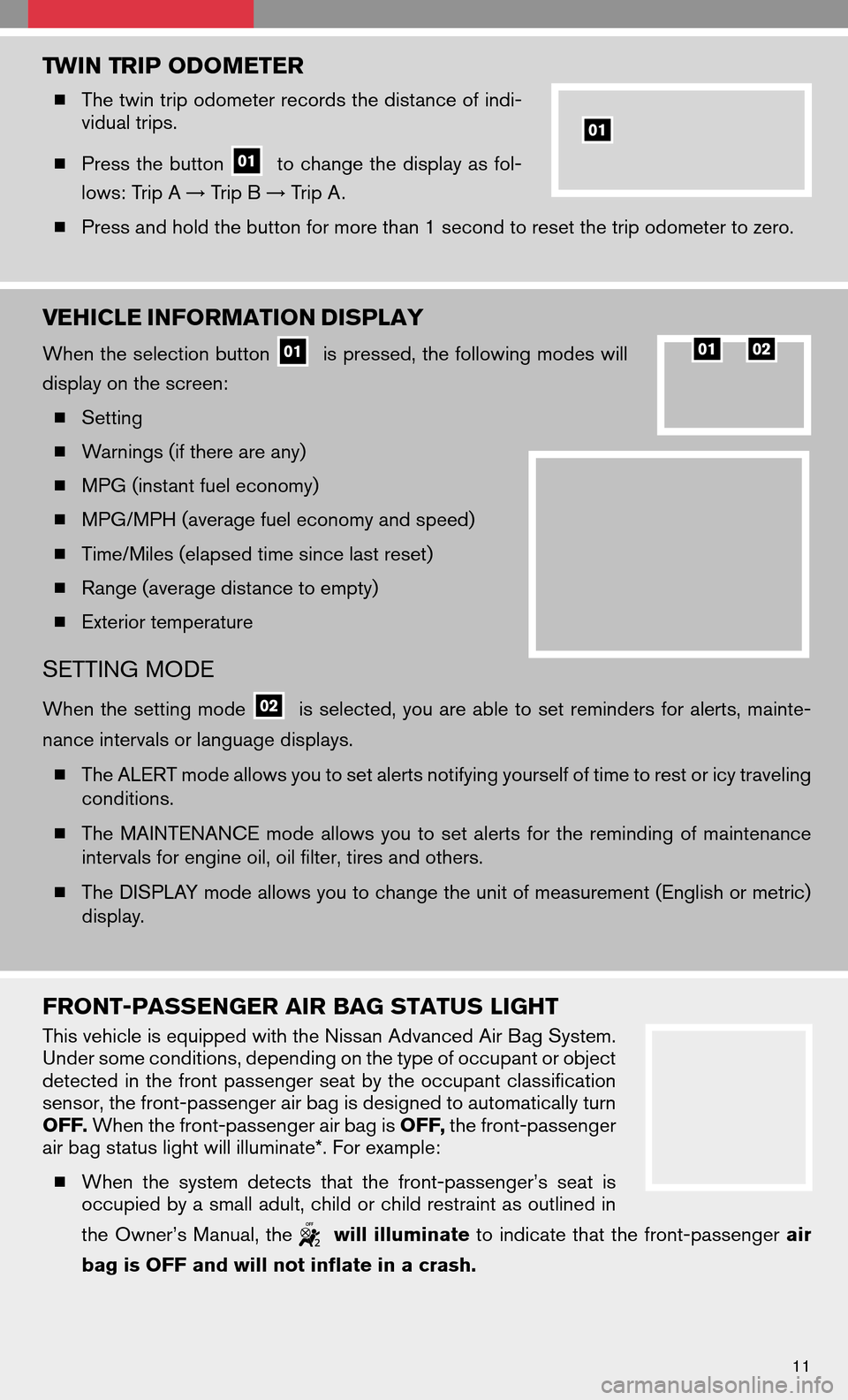 NISSAN ALTIMA HYBRID 2008 L32A / 4.G Quick Reference Guide, Page 13