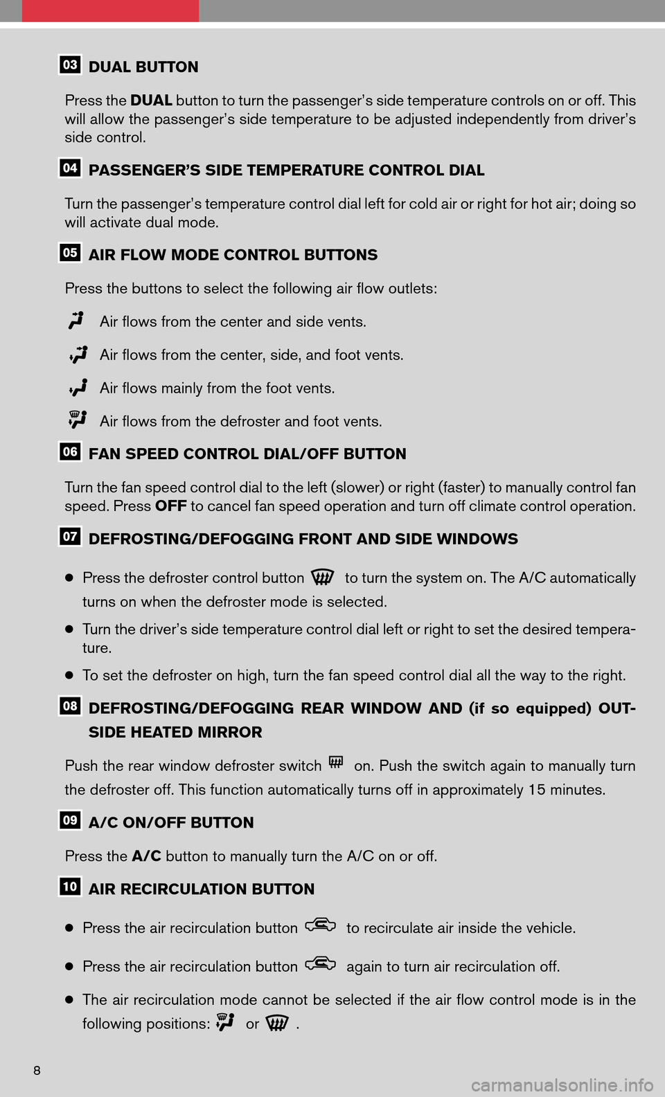 NISSAN ALTIMA HYBRID 2008 L32A / 4.G Quick Reference Guide, Page 10