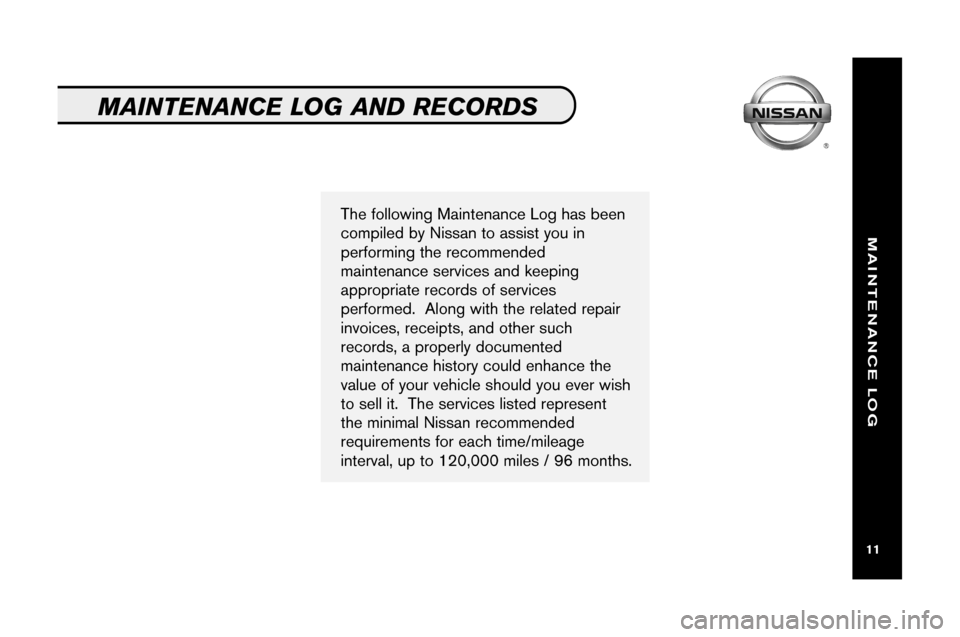 NISSAN ARMADA 2008 1.G Service And Maintenance Guide, Page 13