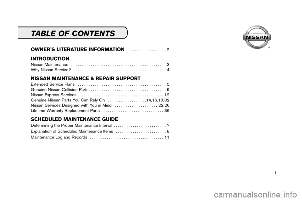 NISSAN ALTIMA 2008 L32A / 4.G Service And Maintenance Guide, Page 3