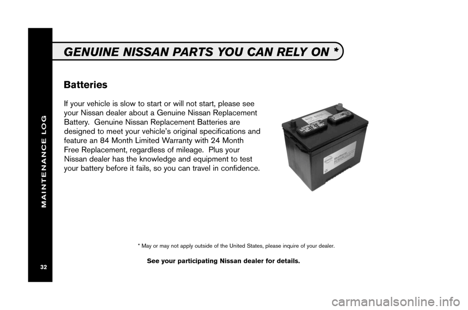 NISSAN XTERRA 2008 N50 / 2.G Service And Maintenance Guide, Page 34