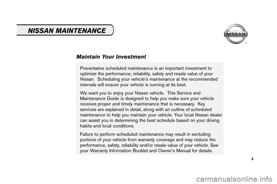 NISSAN ALTIMA 2008 L32A / 4.G Service And Maintenance Guide, Page 5