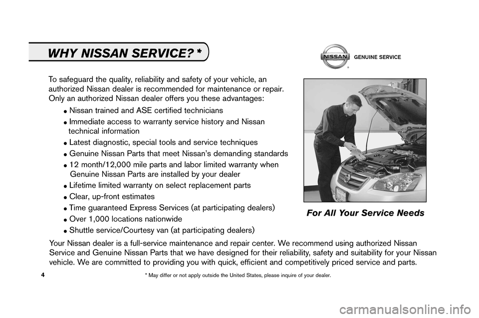 NISSAN ALTIMA 2008 L32A / 4.G Service And Maintenance Guide, Page 6