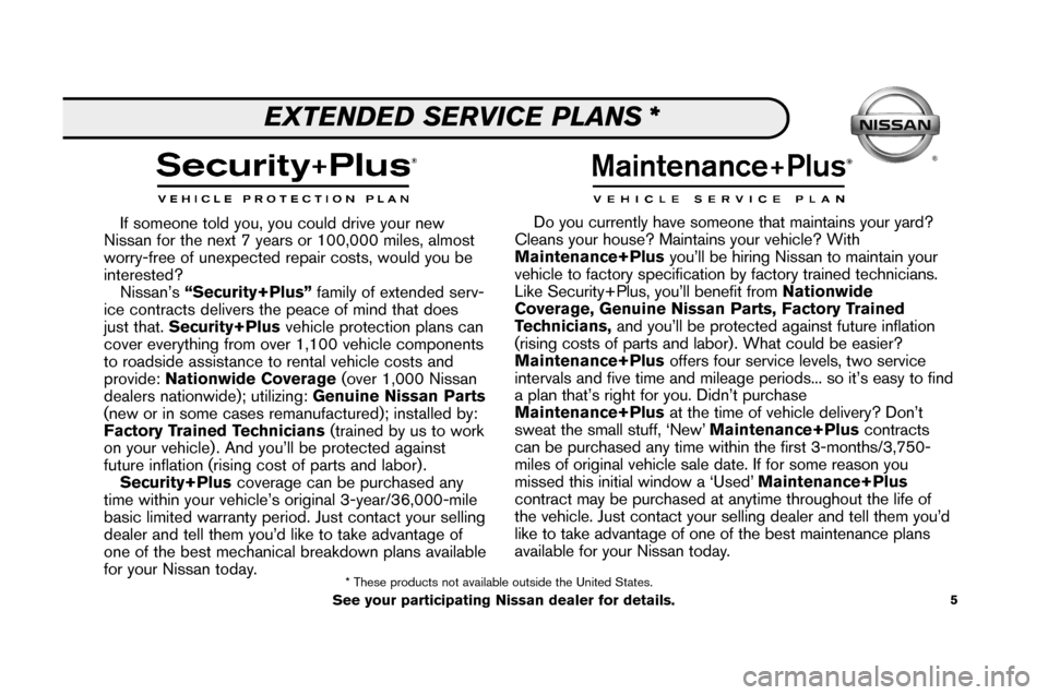 NISSAN ALTIMA 2008 L32A / 4.G Service And Maintenance Guide, Page 7