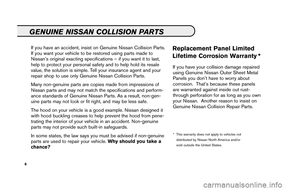 NISSAN ALTIMA 2008 L32A / 4.G Service And Maintenance Guide, Page 8