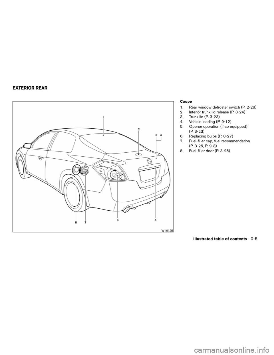 NISSAN ALTIMA COUPE 2009 D32 / 4.G Owners Manual, Page 11