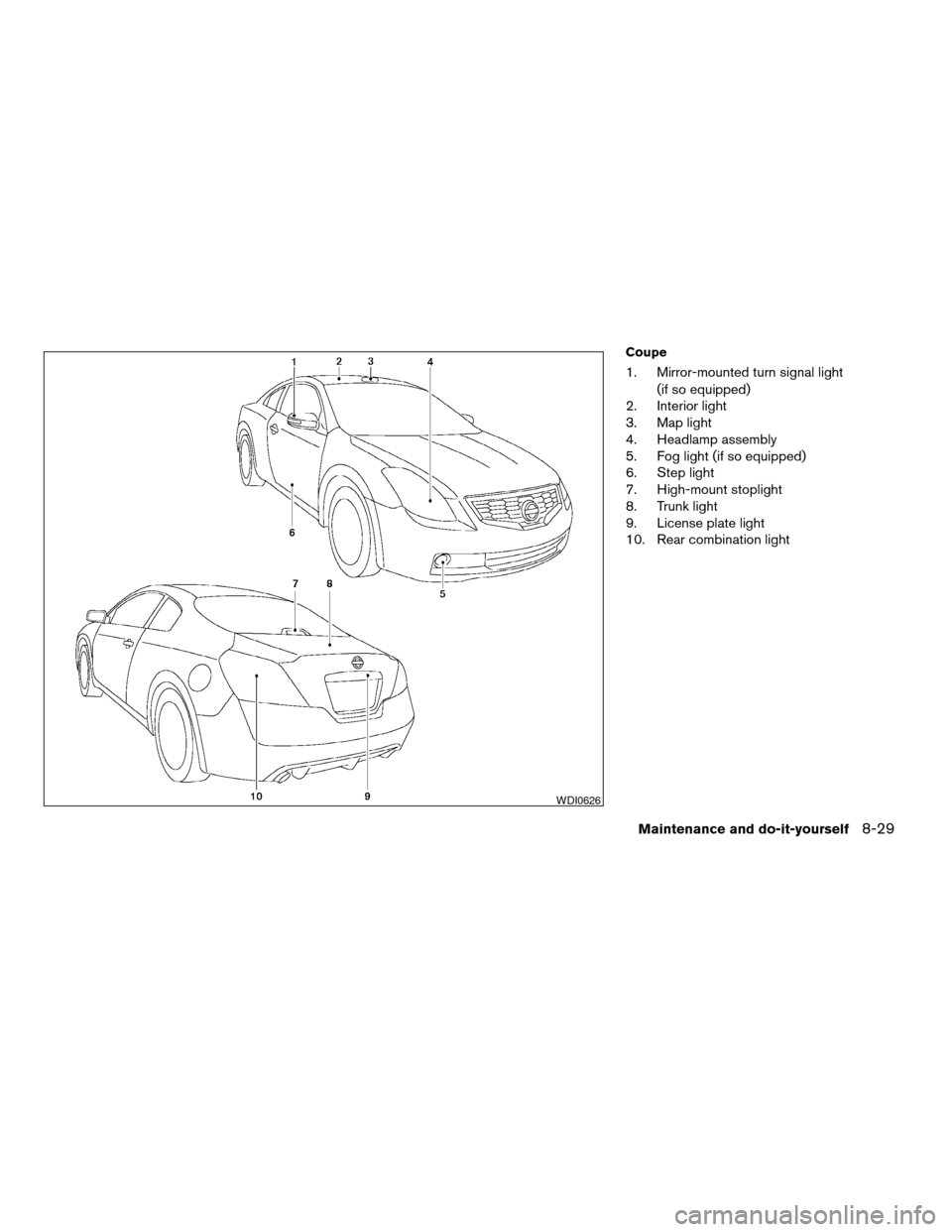 NISSAN ALTIMA COUPE 2009 D32 / 4.G Owners Manual, Page 319