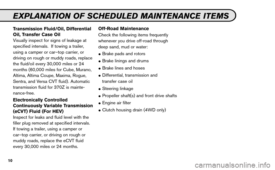 NISSAN VERSA HATCHBACK 2009 1.G Service And Maintenance Guide, Page 11
