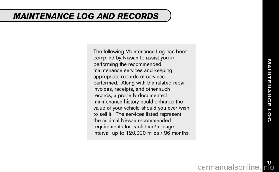 NISSAN VERSA HATCHBACK 2009 1.G Service And Maintenance Guide, Page 12