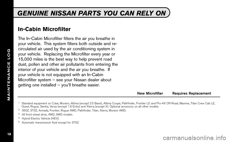 NISSAN VERSA HATCHBACK 2009 1.G Service And Maintenance Guide, Page 19