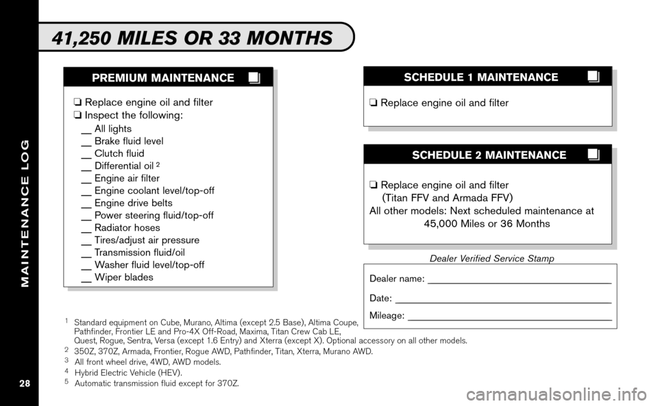 NISSAN ALTIMA COUPE 2009 D32 / 4.G Service And Maintenance Guide, Page 29