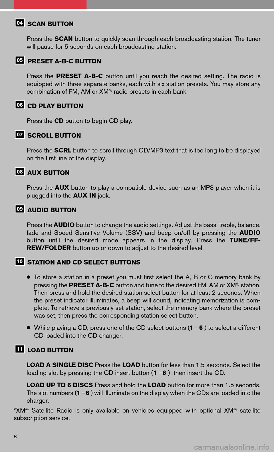 NISSAN VERSA HATCHBACK 2009 1.G Quick Reference Guide, Page 10
