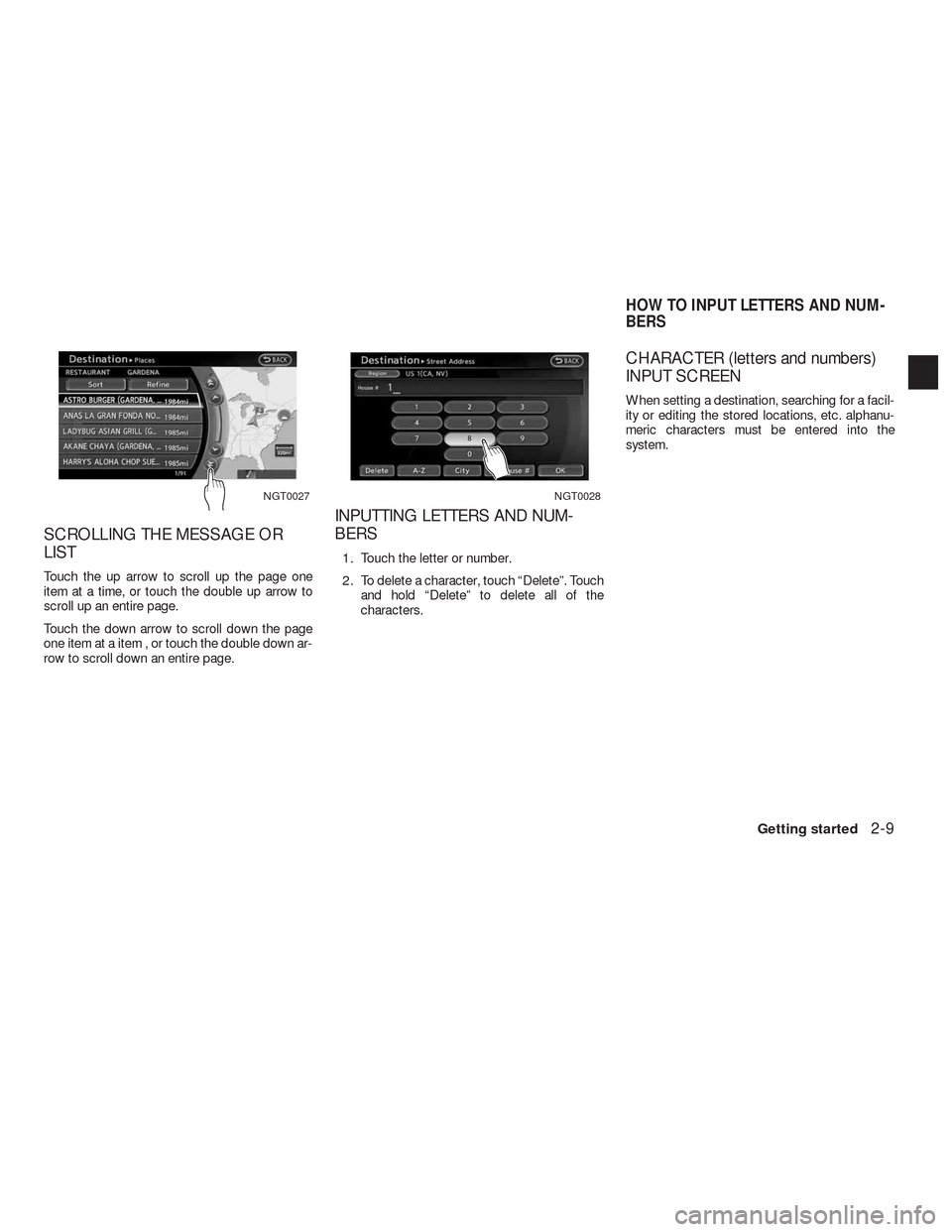 NISSAN ALTIMA COUPE 2010 D32 / 4.G Navigation Manual, Page 16