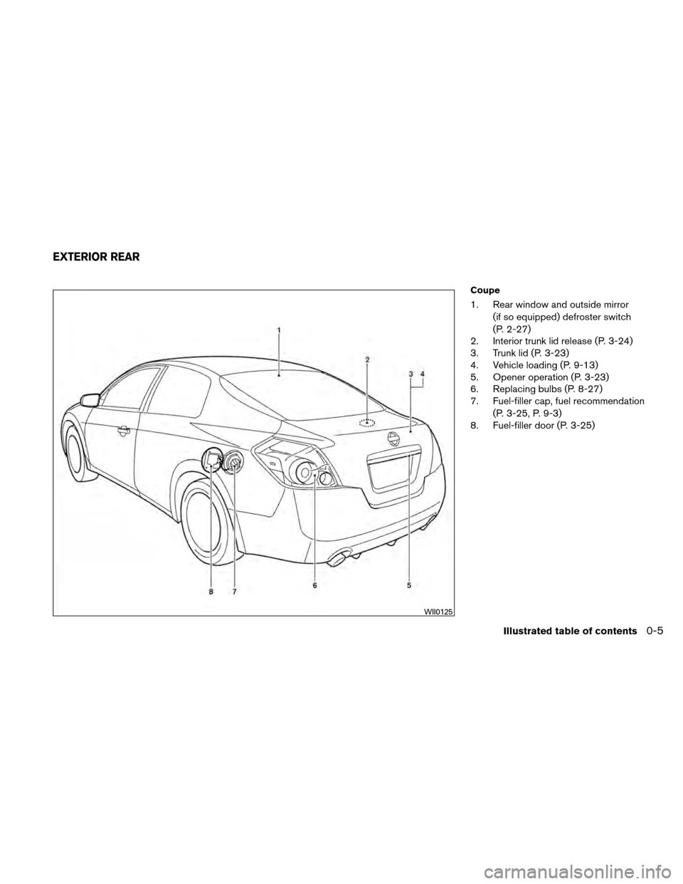 NISSAN ALTIMA COUPE 2010 D32 / 4.G Owners Manual, Page 12