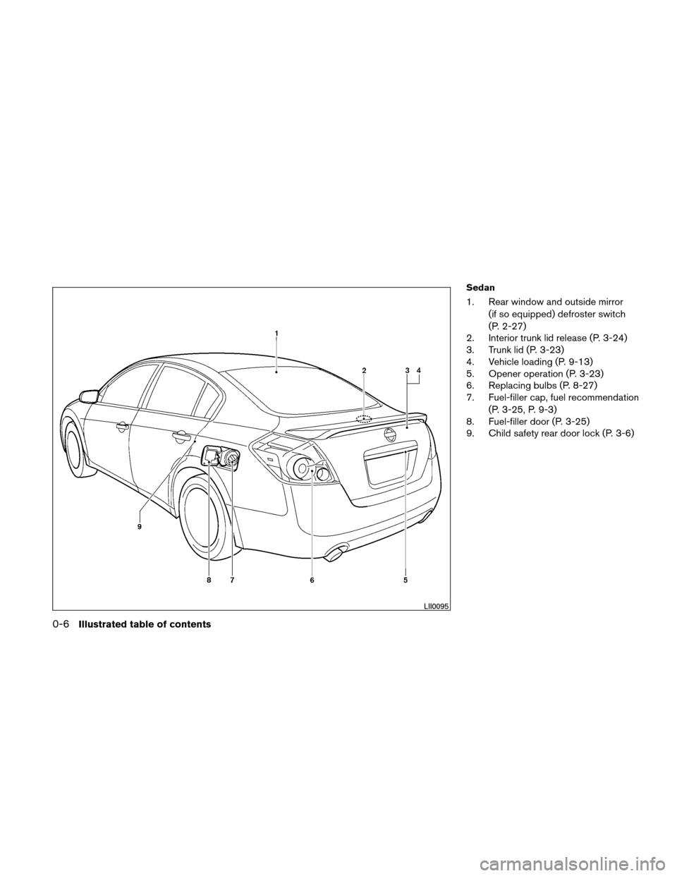 NISSAN ALTIMA COUPE 2010 D32 / 4.G Owners Manual, Page 13