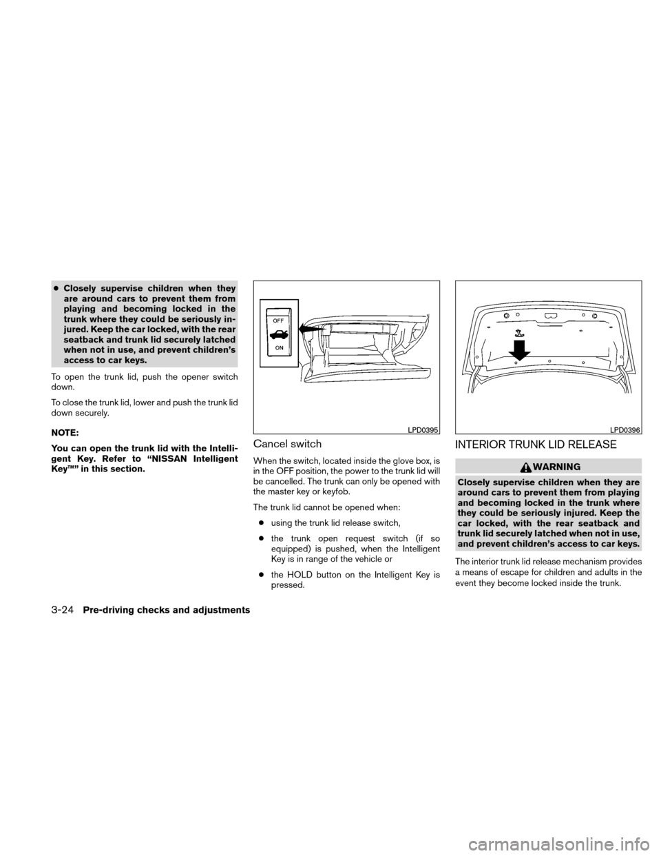 NISSAN ALTIMA COUPE 2010 D32 / 4.G Owners Manual, Page 155