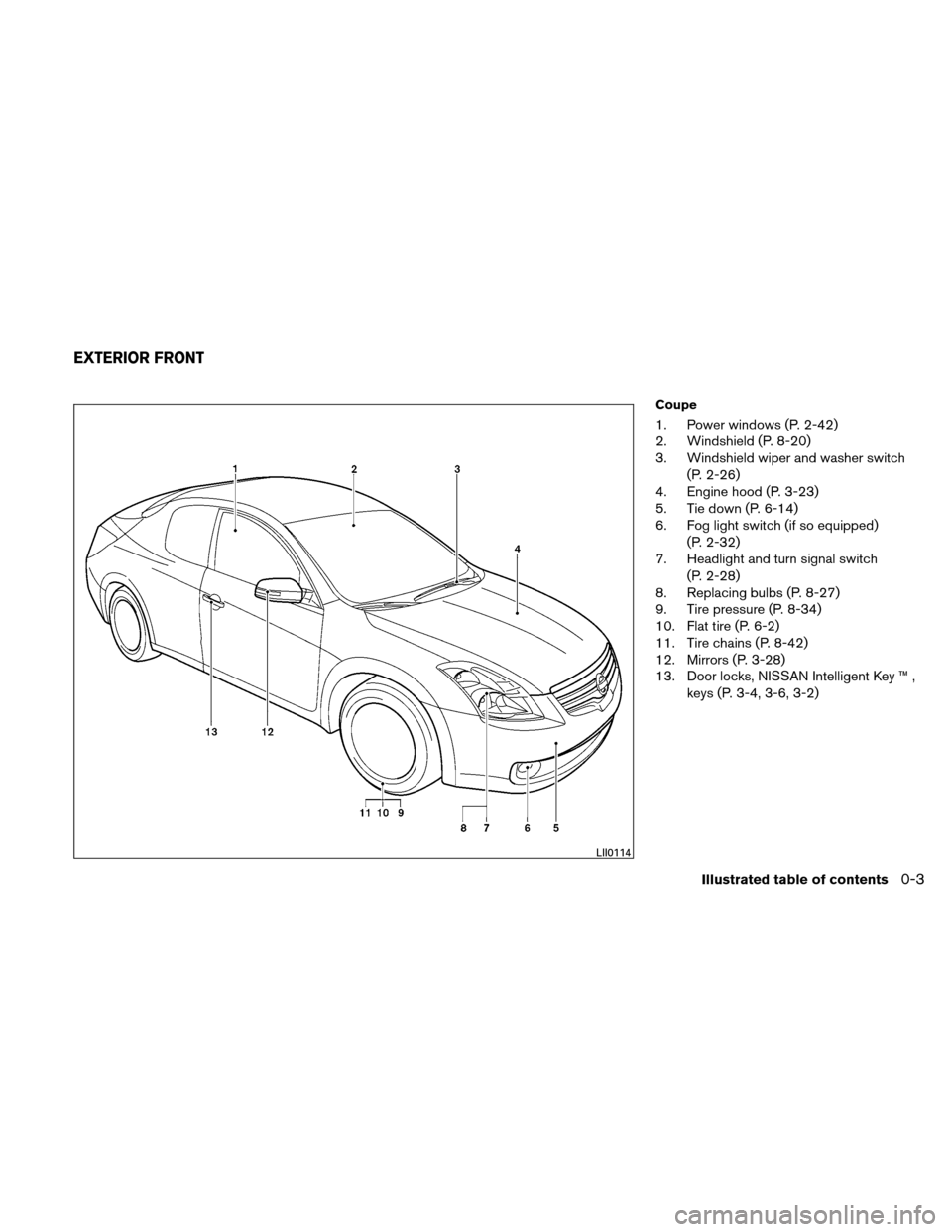 NISSAN ALTIMA COUPE 2010 D32 / 4.G Owners Manual, Page 10