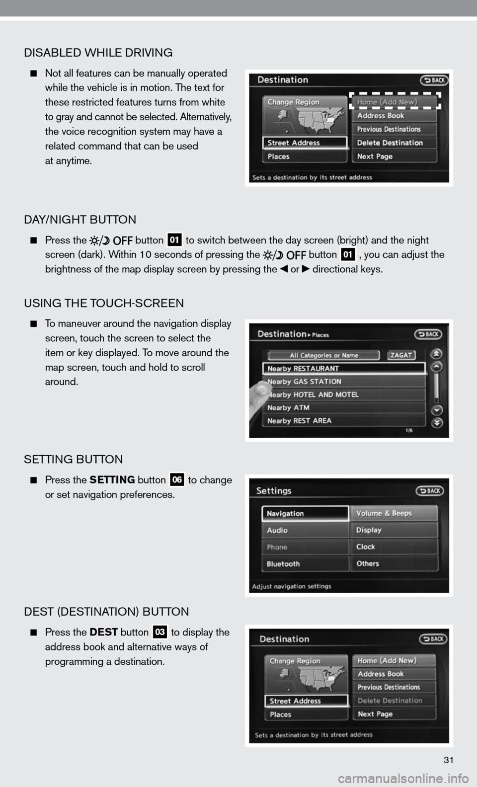NISSAN ALTIMA COUPE 2010 D32 / 4.G Quick Reference Guide, Page 33