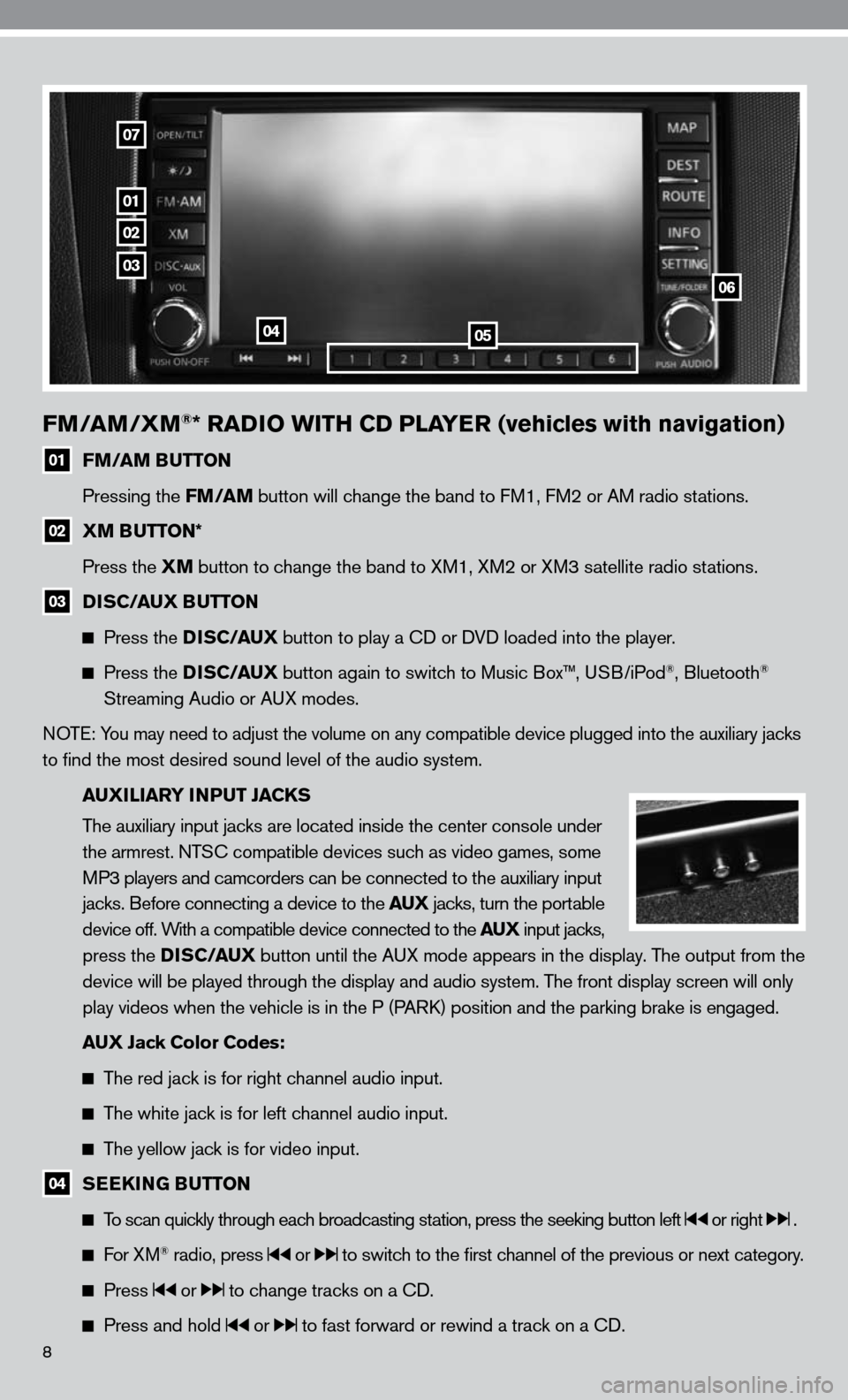 NISSAN ALTIMA COUPE 2010 D32 / 4.G Quick Reference Guide 8 FM/AM/XM®* RADIO WITH CD PLAYER (vehicles with navigation) 01 FM/AM BUTTON     Pressing the FM/AM button will change the band to  fM1,  fM2 or AM radio stations.   02  XM BUTTON*      Press the XM