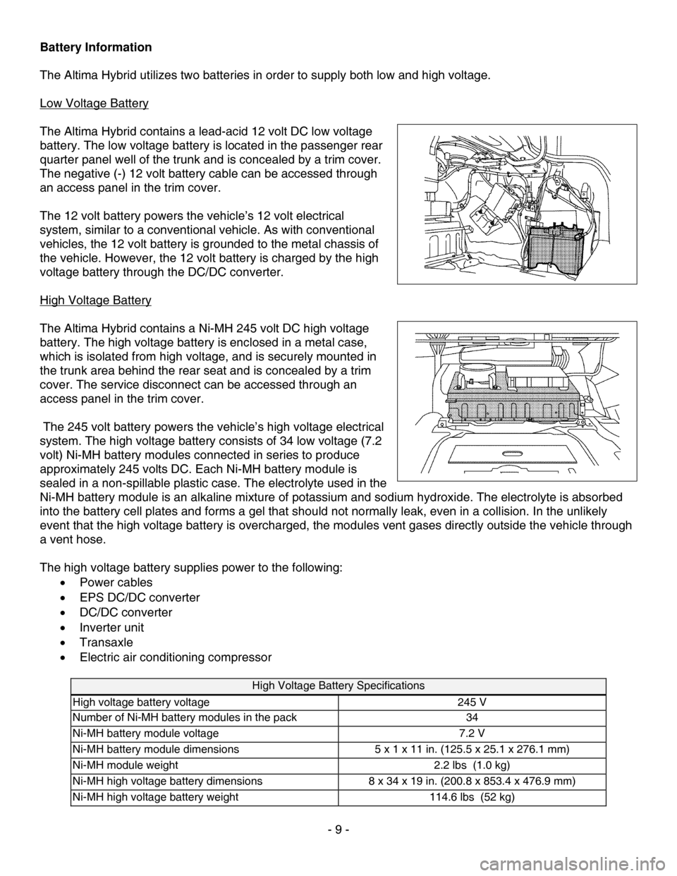 NISSAN ALTIMA HYBRID 2010 L32A / 4.G Dismantling Guide, Page 9