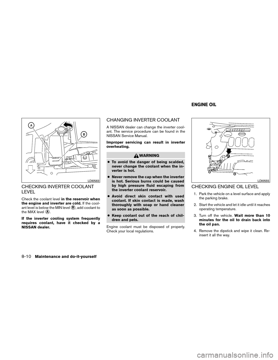 NISSAN ALTIMA HYBRID 2010 L32A / 4.G Owners Manual, Page 353