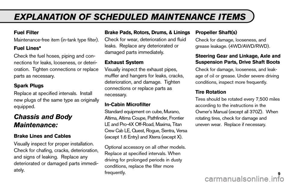 NISSAN SENTRA 2010 B17 / 7.G Service And Maintenance Guide, Page 11